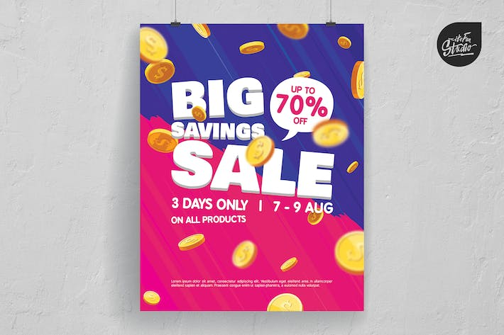 Thumbnail for Falling Coins Big Savings Sale Poster And Flyer