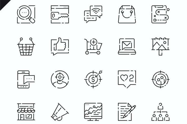 Cover Image For Simple Set Marketing Line Icons