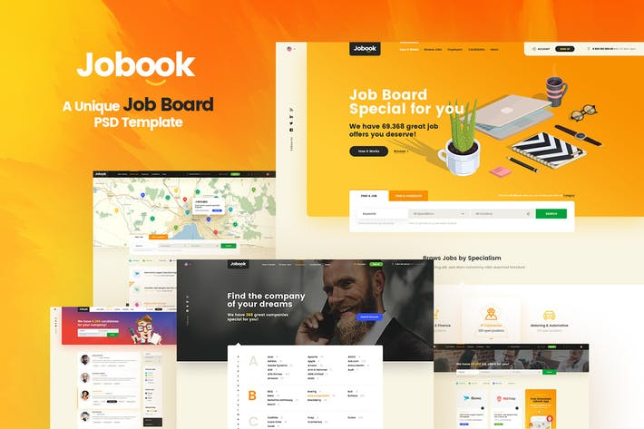 Cover Image For Jobook - A Unique Job Board Website PSD Template