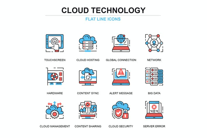 Thumbnail for Thin line cloud technology icons set
