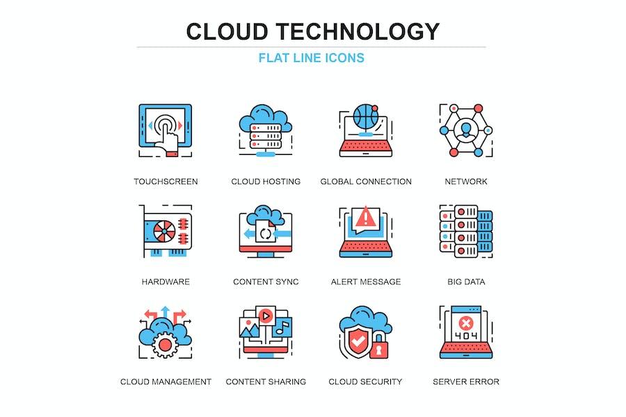 Thin line cloud technology icons set