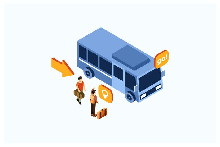 Cover Image For Isometric Bus Transportation Vector Illustration