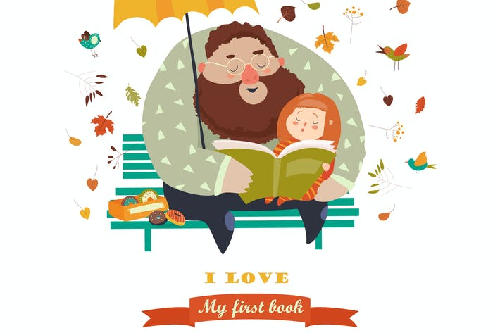 Thumbnail for Father reading a book to his daughter. Vector