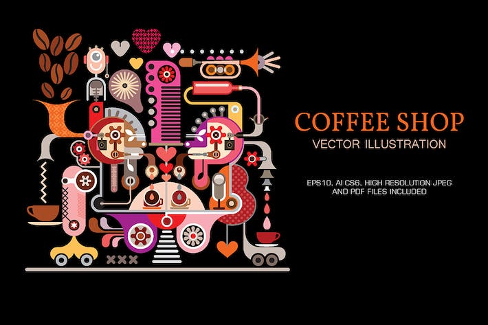 Cover Image For Coffee Shop vector illustration