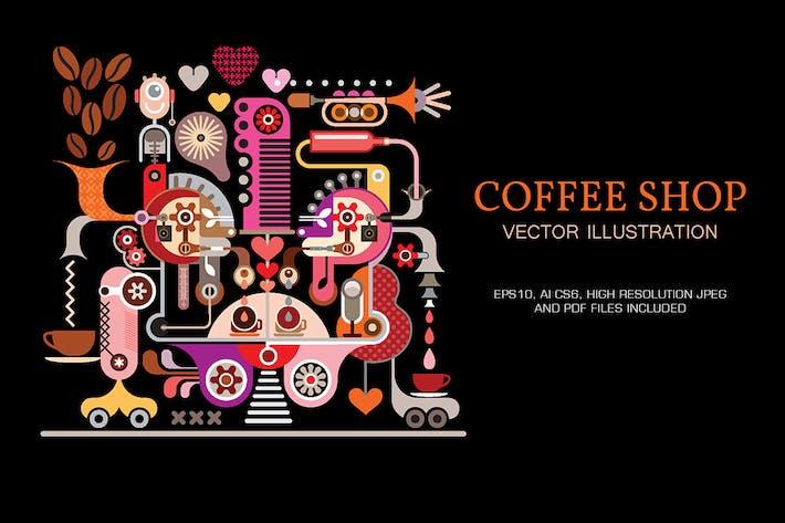 Thumbnail for Ilustración Vector de Coffee Shop