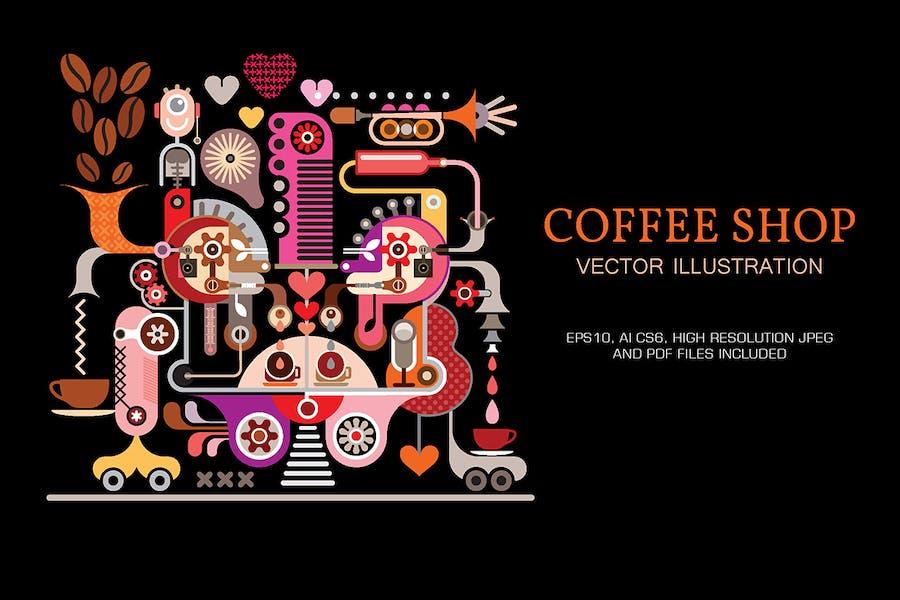 Кофейня вектор иллюстрация