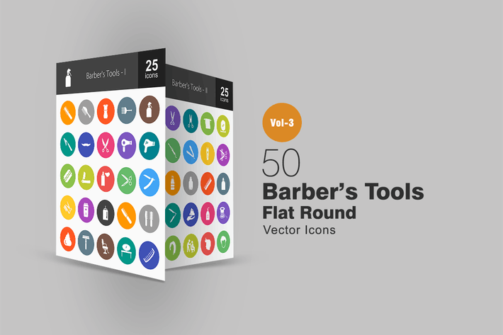 50 Barber's Tools Flat Round Icons
