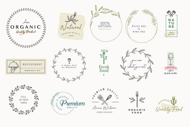 Set of labels and badges for food and drink