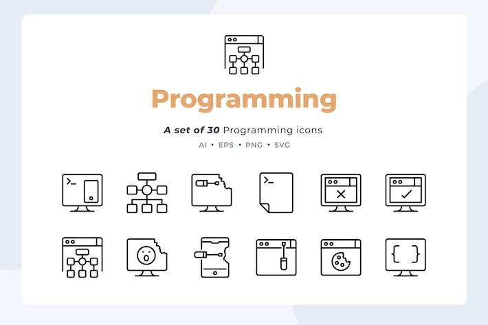 Thumbnail for Basic line - 30 Programming Icons