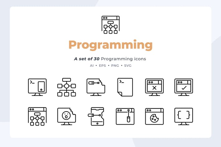 Basic line - 30 Programming Icons