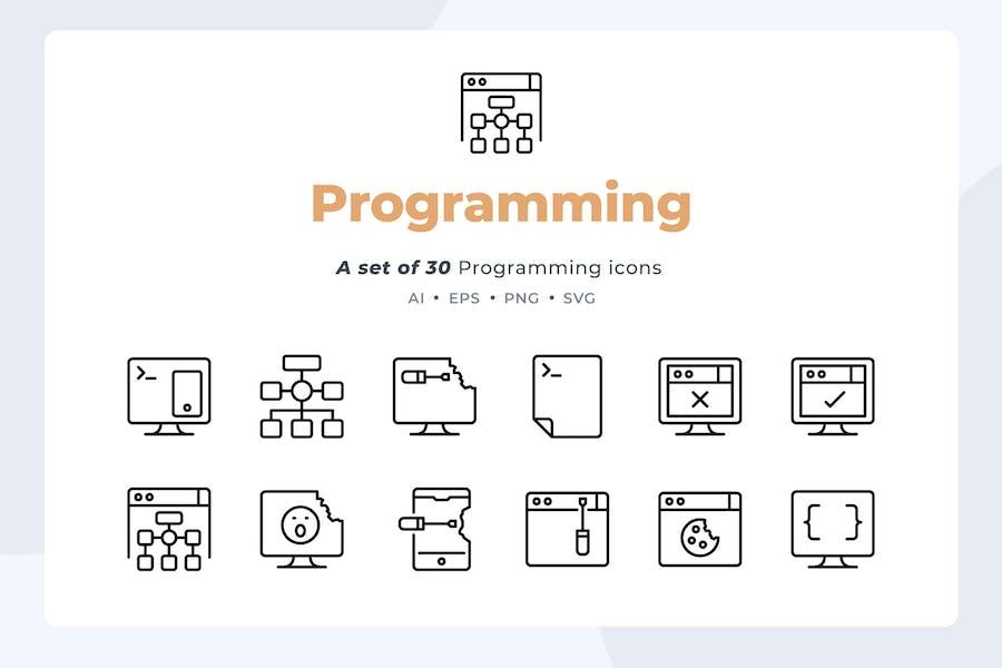 Basic line - 30 Programming Icons