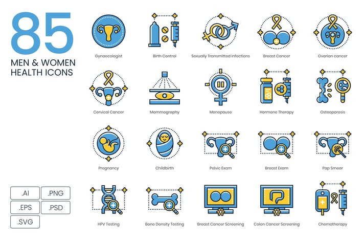 Thumbnail for 85 Men & Women Health Icons | Kinetic Series