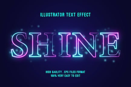 shine glow colorful text effect