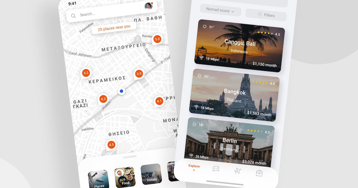 Download Travel map app - Light Mode (iOS) by buydesign