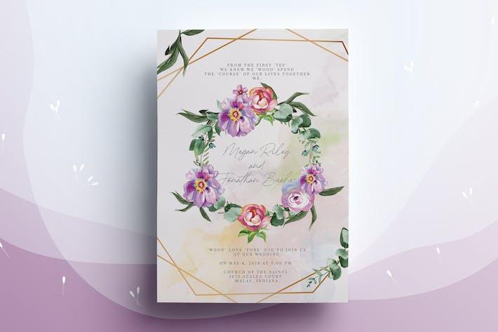 Thumbnail for Watercolour Floral Wedding Invitation Card