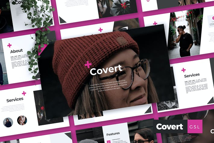 Thumbnail for COVERT - Company Profile Google Slides Template