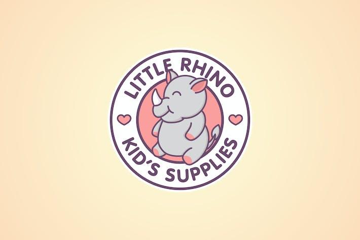 Cartoon Cute Baby Rhinoceros Mascot Emblem Logo