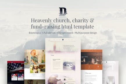 Divinity, bootstrap 4 Church/Charity html template
