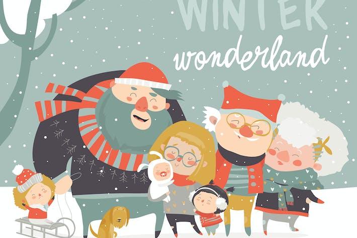 Thumbnail for Diversión de invierno. Familia Alegre en vacaciones de invierno.