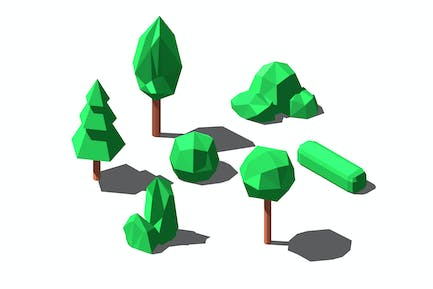 Vector isometric low poly trees and bushes