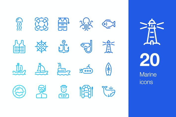 Cover Image For 20 Marine icons