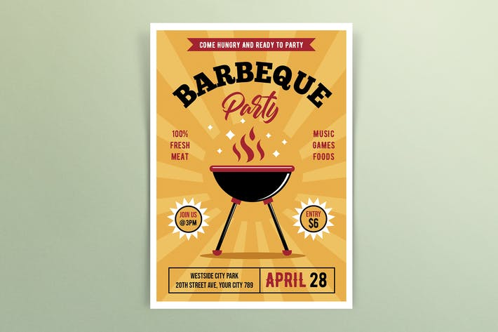 Thumbnail for Retro Barbeque Party Flyer