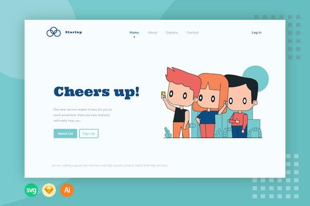 Cheers Up - Website Header - Illustration