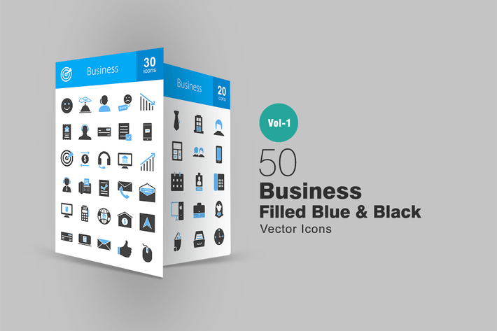 Thumbnail for 50 Business Blue & Black Icons
