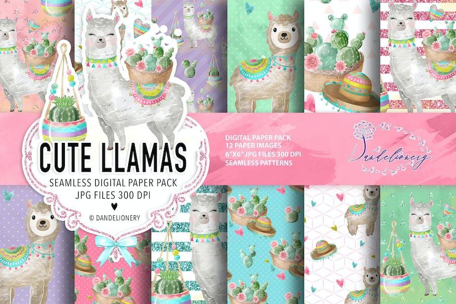 Cute Lama digital paper pack