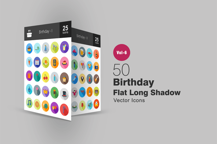 Thumbnail for 50 Birthday Flat Shadowed Icons