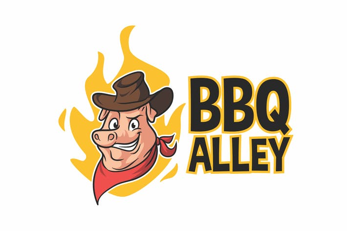 Thumbnail for Barbecue Alley - Logo mascotte personnage de cochon Barbecue