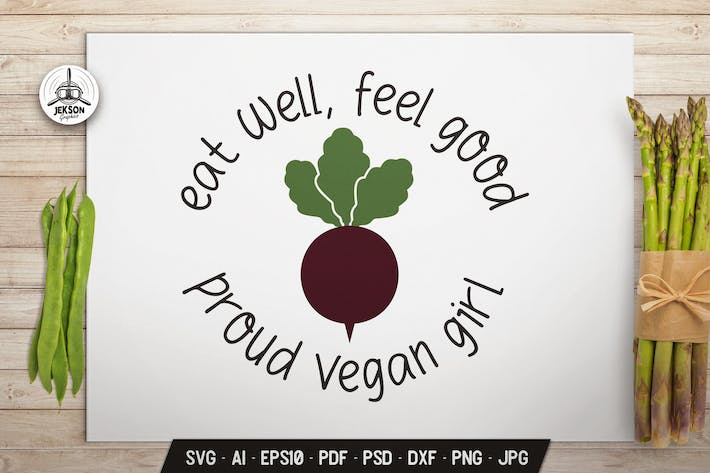Thumbnail for Vegan Girl Logo Design Retro Vector Beet Badge SVG