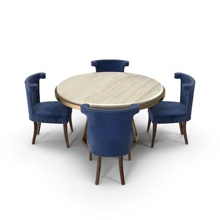 Kunstdeco-Esstisch-Set aus Samt, Blau