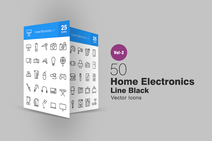 Thumbnail for 50 Home Electronics Line Icons