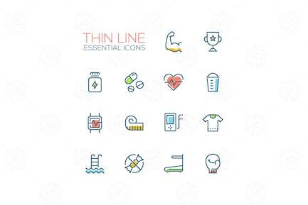 Sport Training - Thin Single Line Icons Set