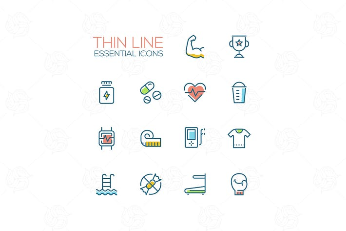 Thumbnail for Sport Training - Thin Single Line Icons Set