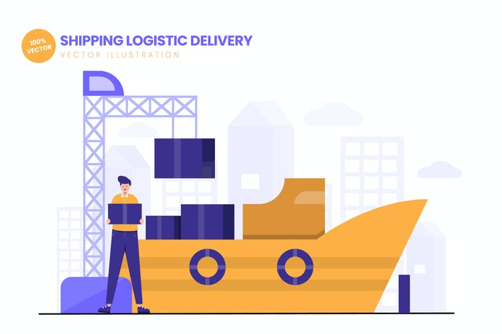 Thumbnail for Shipping Logistic Delivery Flat Illustration