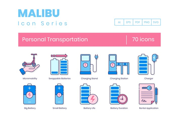 Thumbnail for 70 Personal Transportation Line Icons
