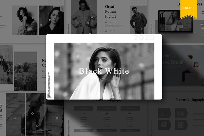 Thumbnail for Black White | Google Slides Template