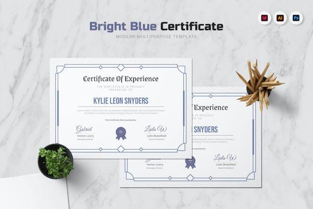 Bright Blue Certificate