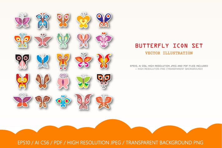 Thumbnail for Large set of Butterfly vector icons