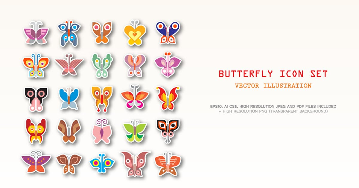 Large set of Butterfly vector icons by danjazzia