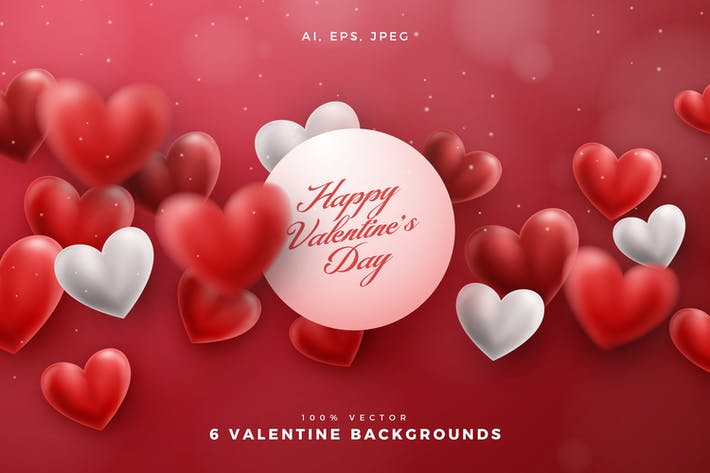 Thumbnail for 6 Valentine Hearts Vector Backgrounds