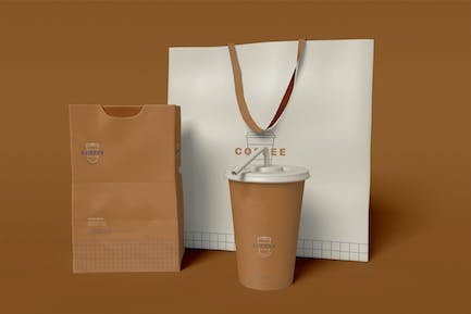 Take Away Coffee Cup, Bag and Paper Package Mockup