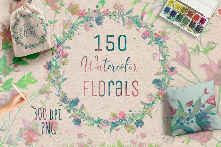 Thumbnail for 150 Watercolor Florals+Bonus