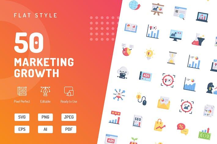 Thumbnail for Flache Icons für Marketingwachstum