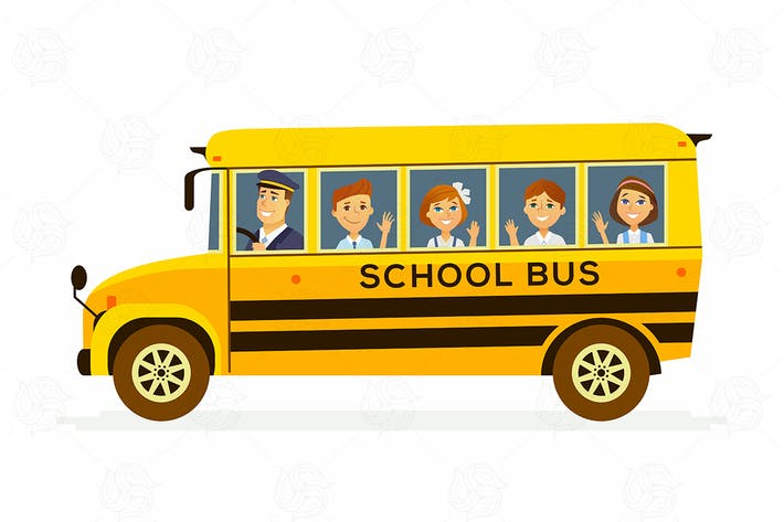 Thumbnail for School Bus - cartoon characters illustration
