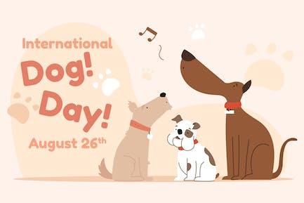 International Dog Day  - Flat Illustration