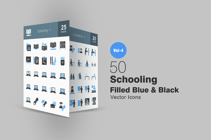 Thumbnail for 50 Schooling Blue & Black Icons