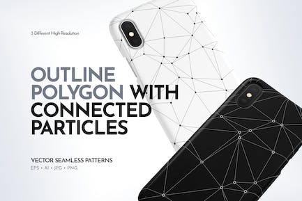 Polygon with Connected Particles Seamless Patterns